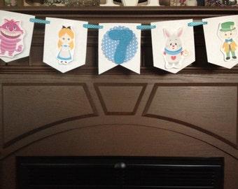 Alice In Wonderland Birthday Party Mini Banner