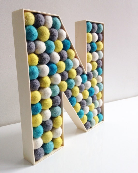 kids room decorative letter n felt ball free standing. Black Bedroom Furniture Sets. Home Design Ideas