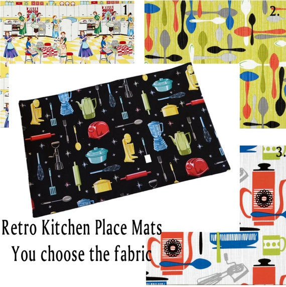 Retro Kitchen PLACE MATS You Choose The Fabric Add A Bit Of