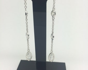 Rhodium Sterling Silver CZ Dangling Earrings
