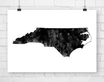 Printable Art North Carolina State, Watercolor, Wall Art, Art Print, North Carolina Decor, North Carolina Art, North Carolina Poster