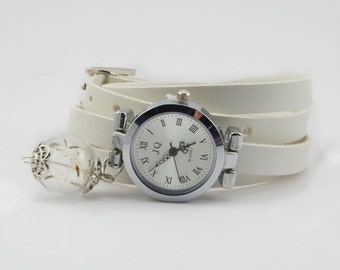 White leather watch three laps wrist watch dandelion watch dandelion wrist watch ladies watch Christmas gift for her girlfriend gift