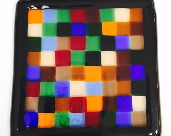 Postage Stamp Quilt Block Fused Glass Ornament
