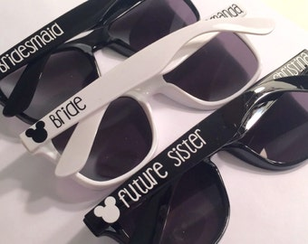 Personalized Disney Wedding Sunglasses: Bachelorette Party, Disney Gift, Disney World, Bridal Party Gift