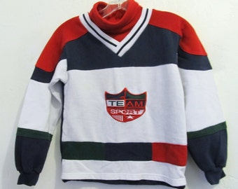Marked Down 25%@@A Boy's Vintage 90's SPORTY T-Neck HOCKEY Style Top.10