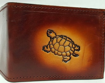 Turtle Bifold or Trifold Leather Wallet B1817