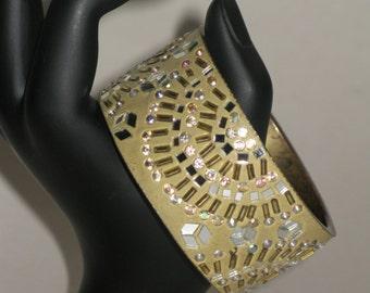 Vintage Brass Bangle Cuff Sparkle Bracelet with Glass Beaded Sunburst