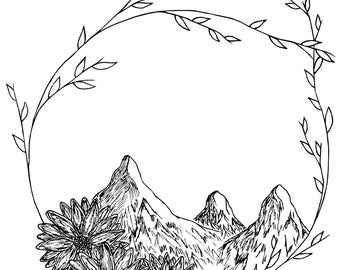 Mountain wreath drawing