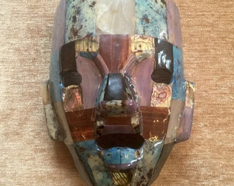 Mask, Multi-Color Stone Shell Mosaic Mask 7 3/4 inches by 6 1/4 by 4 inches