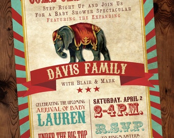 Step Right Up Baby Shower Invitation, Circus Baby Shower Invitation, Vintage Circus Baby Shower Invitation