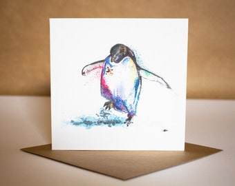 Penguin Watercolour Card ~ watercolour penguin, penguin greetings card, penguin card, penguin watercolour