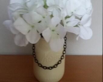 Mason jar hydrangea silk flower centerpiece
