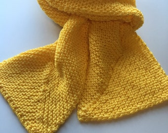 Handknit Reversible Yellow Gold School Colors Scarf machine washable