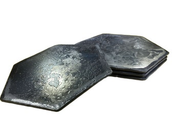 Forged Iron Hexagon Coasters - Set of 4