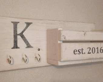 Rustic Monogram Mail & Key Holder in Distressed White, Letter and Key Holder