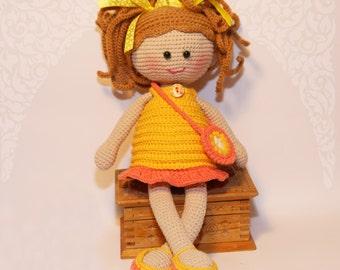 Doll handmade, Crochet doll, Doll yellow dress, doll brown hair, cute doll, rag doll, first doll, gift for girls, cuddly doll, stuffed doll