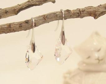 Moon light white Swarovski Crystal Earrings, Wedding Bridal, Bridesmaid,Jewelry,gift