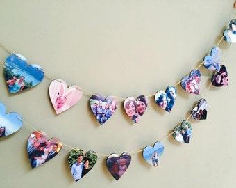 Heart Photo Bunting / Photo Bunting / Photo Gift / Wedding Gift / Engagement Gift / Birthday Gift / Christening / Home Decor / Photo Frame