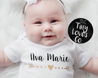 Heart name onesie. girl name onesie. arrow onesie. baby girl name onesie. baby name onesie. bring home baby outfit. coming home outfit.