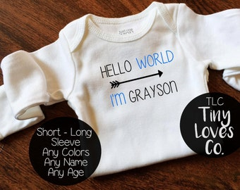 hello world. Customized baby coming home. Baby bring home outfit. Baby boy. baby shower gift. baby girl. coming home outfit.