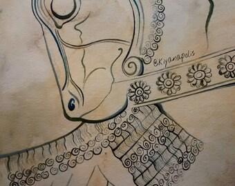Watercolor Painting, Persepolis, Takhtejamshid, Shiraz, Persian painting, Persian art, Norooz takhte jamshid, Persian mythology Iran Iranian
