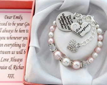 Goddaughter gifts etsy swarovski pink white bicones godparents goddaughter goddaughter gift baptism gift goddaughter bracelet gift negle Image collections