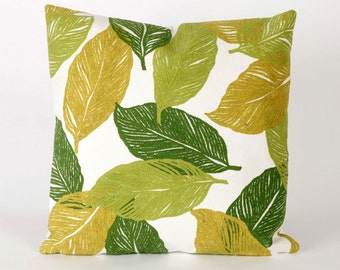 Indoor Outdoor Handmade Decorative Throw Pillow - Leafy Pillow - Green and White - FREE SHIPPING!!