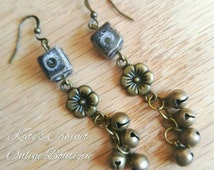 Brass earrings with black cube beads and Antique Brass Bells // Natural Brass, Gold-tone Glass Beads // boho style jewelry for hippy gypsy