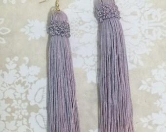 Annette Statement Tassel Earrings - Dusty Lavendar