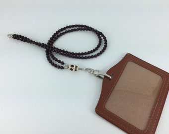 Howlite Skull and Wood ID Badge Lanyard Card Holder Gift for Him Brown Leatherette Swivel Carrier Office Gift