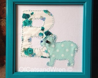 Patchwork Animal Initial/Letter - 'B is for Bear'