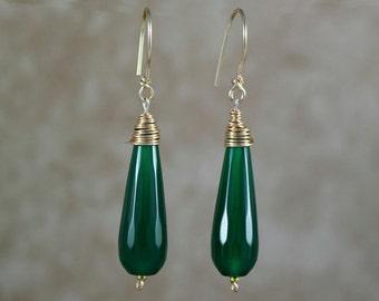 Emerald drop earrings. Green teardrop earrings. Emerald green earrings