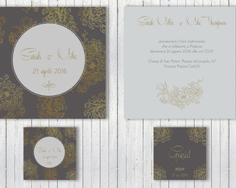 Wedding Invitation, Gold Wedding Invitation, Wedding Invite, Modern Wedding, Matrimonio, Partecipazioni Nozze, Wedding Printable