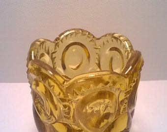 Vintage Amber Glass Toothpick Holder