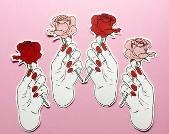 Rose stickers , grunge , fashion , pink , sticker ,  smoking , blunt , fun , girl , sassy , pastel