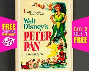 Vintage Disney Peter Pan Poster Neverland Print Home Wall Decor Gift Linen Print - FREE SHIPPING - 365s2g