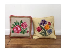 Vintage Needlepoint Pillows - Floral Hand Stitched Throw Pillows - Decorative Pillows - Flower Pillows