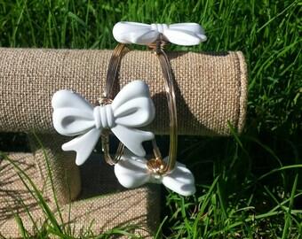 Chunky Large White Bow Bangle Bracelet