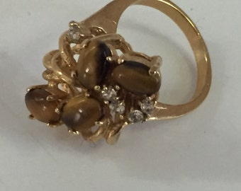 Vintage Tiger Eye Gold Ring Size 5