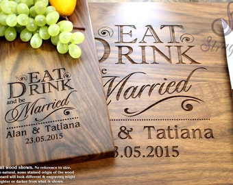 Personalized Cutting Board Set - Engrave Cutting Board and Cheeseplate, Custom Personalized Gift, Wedding and Housewarming Gift.012