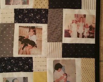 Custom Photo Memory Quilt- Retirement/Anniversary/Wedding Gift