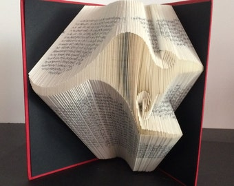 Folded Book Art Sculpture  Kangaroo - Completed Book - Australia, Qantas, Birthday