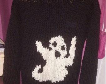 Halloween sweater Black Ghost for women 38