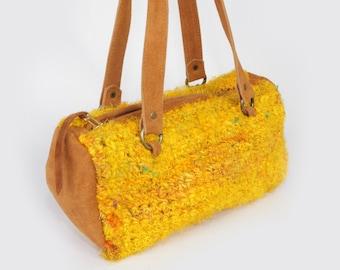 Yellow Handbag-Small Shoulder Bag-Knitted Handbag-Boutique Yellow handbag-Unique Handbags-Colorful Bag-
