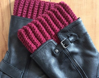 Ribbed Boot Cuff - Burgundy