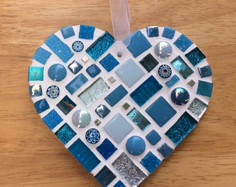 Turquoise Mosaic Heart - Mosaic Wall Art - Hanging Heart