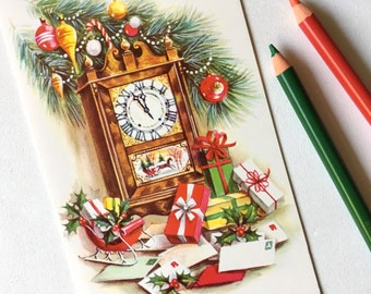 Vintage Christmas Card. Holiday Card. Retro Greeting Card. Grandfather Clock with Presents.