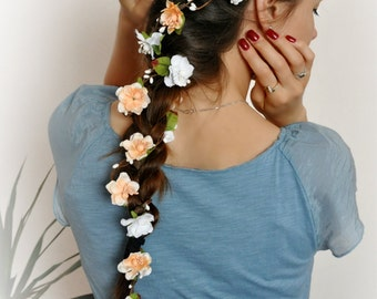 Flower Hair Garland Bridal flower crown Wedding Hair Flowers Head Wreath Flower Crown Cherry Blossoms White Bridal Wreath LV12