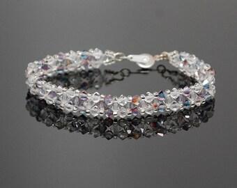Swarovski Crystal and Czech Crystal Chevron Design Bracelet