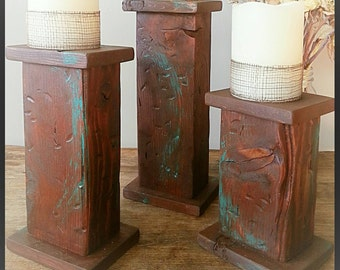 Rustic candle pillars, candle holder, wood pillar candle holder, southwestern candle sticks, country candle holder